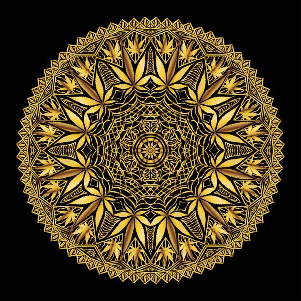 Cannabis Marijiana Intricate Mandala vector art illustration