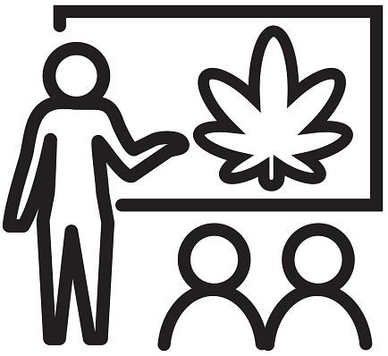 Cannabis Marijuana Education concept icon with text