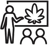 Vector illustration of a Cannabis Marijuana Education concept icon. Easy to edit. EPS 10.