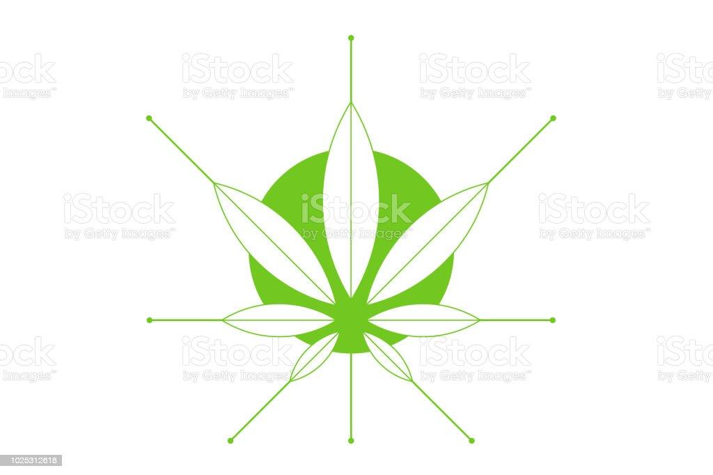 Cannabis Marijuana Hemp Green Leaf Flat Symbol Or Logo Design