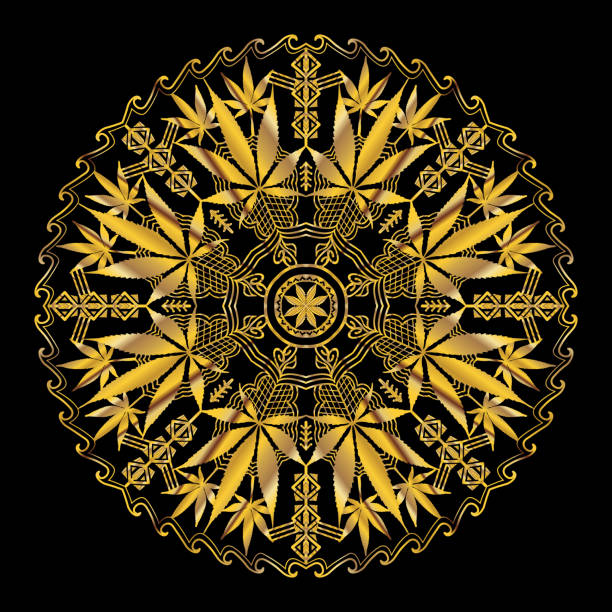 Cannabis Marijuana Intricate Mandala vector art illustration