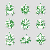 Collection cannabis, marijuana labels and elements set, edit size and color, vector