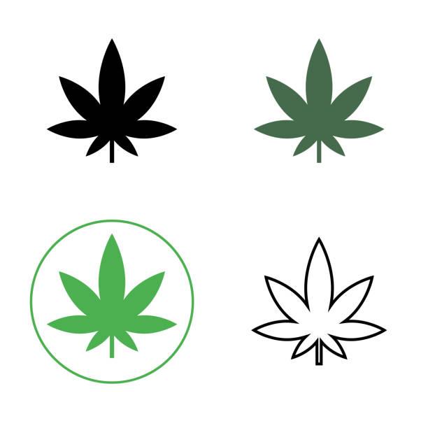 Cannabis, marijuana leaf line icon. Set of cannabis icons. Vector Cannabis, marijuana leaf line icon. Set of cannabis icons. Vector illustration marijuana stock illustrations