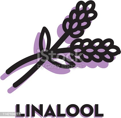 Vector illustration of a Cannabis Marijuana Linalool icon with text. Easy to edit. EPS 10.