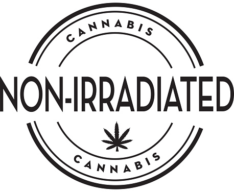 Cannabis Marijuana Non-Irradiated stamp icon with text