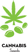 Vector illustration of a Cannabis Marijuana seeds icon with text. Easy to edit. EPS 10.