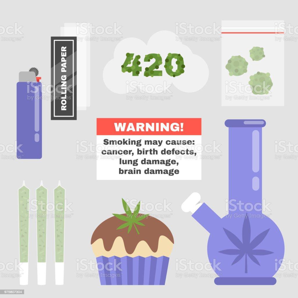 Cannabis. Marijuana. Weed. Set of smoking tools. Lifestyle and Health. Flat editable vector illustration, clip art vector art illustration