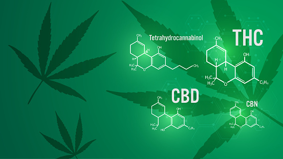 cannabis molecular structure medical concept background