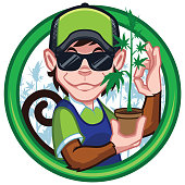 Cartoon mascot for cannabis production, with monkey character.