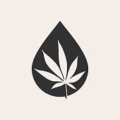 cannabis oil hipster vintage vector icon illustration