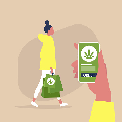 Cannabis online store, mobile interface, young female character walking with paper shopping bags, millennial lifestyle