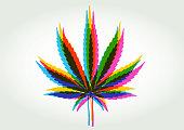 Colourful silhouettes of Cannabis or Marijuana Leaves