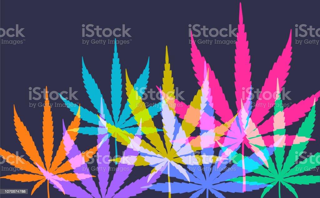 Cannabis or Marijuana Leaves Colourful silhouettes of Cannabis or Marijuana Leaves Addiction stock vector