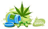 Cannabis organic medical pills falling from jar with Lid. Cartoon flat marijuana leaf plant, isolated on white background. Eps10 vector illustration.
