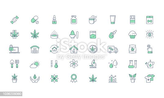 Cannabis CBD Medical products and Growing, planting line vector icon set