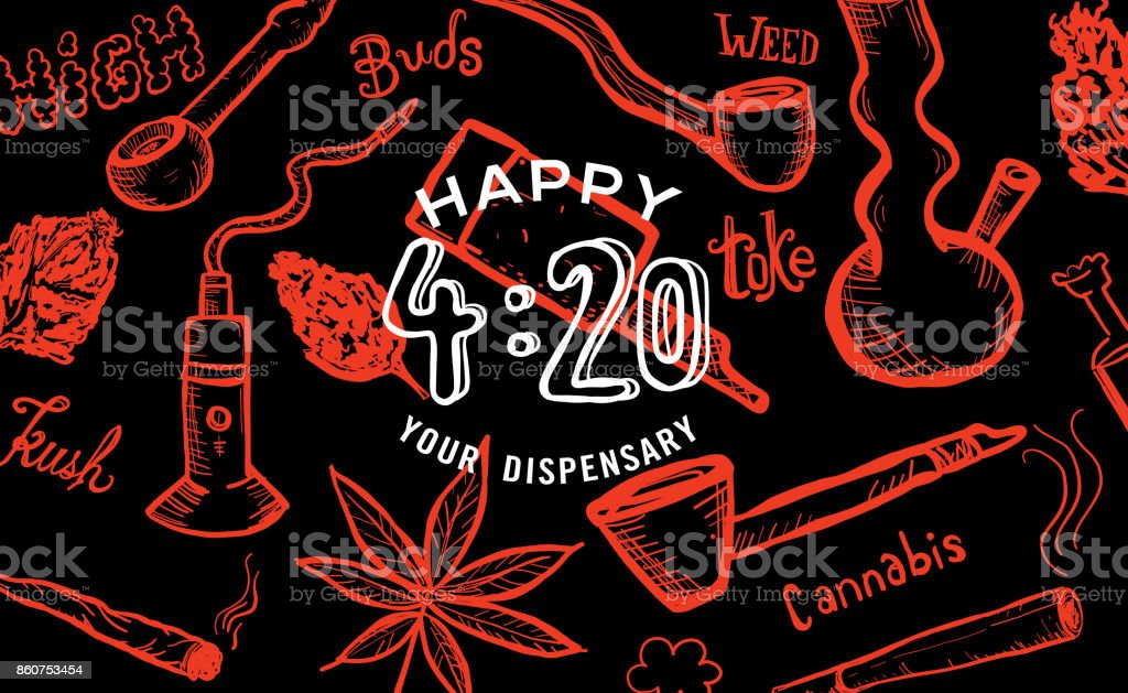 Cannabis weed culture Happy 420 hand drawn banner designs vector art illustration