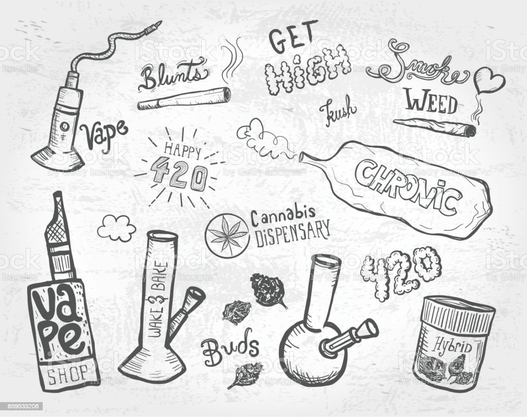 Cannabis weed culture marijuana dispensary hand drawn labels designs sets vector art illustration