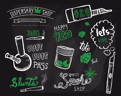 Cannabis weed culture marijuana dispensary hand drawn labels designs sets