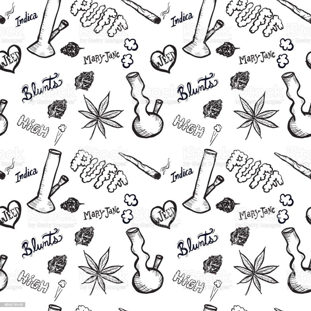 Cannabis weed culture marijuana dispensary hand drawn patterns vector art illustration
