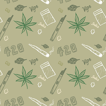 Cannabis weed culture marijuana dispensary hand drawn patterns