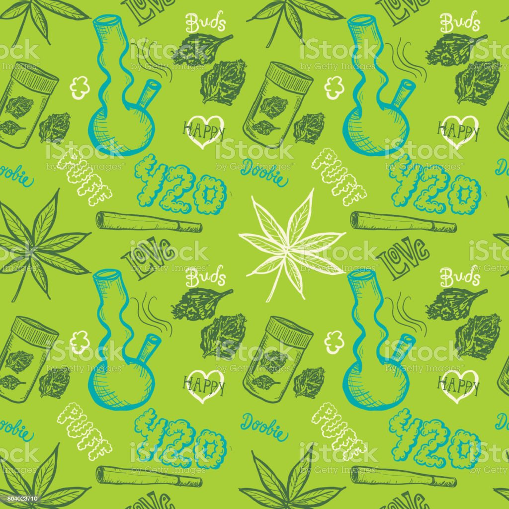 Cannabis weed culture marijuana dispensary hand drawn patterns vector art illustration
