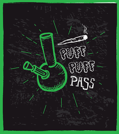 Cannabis weed culture Puff puff pass hand drawn labels designs