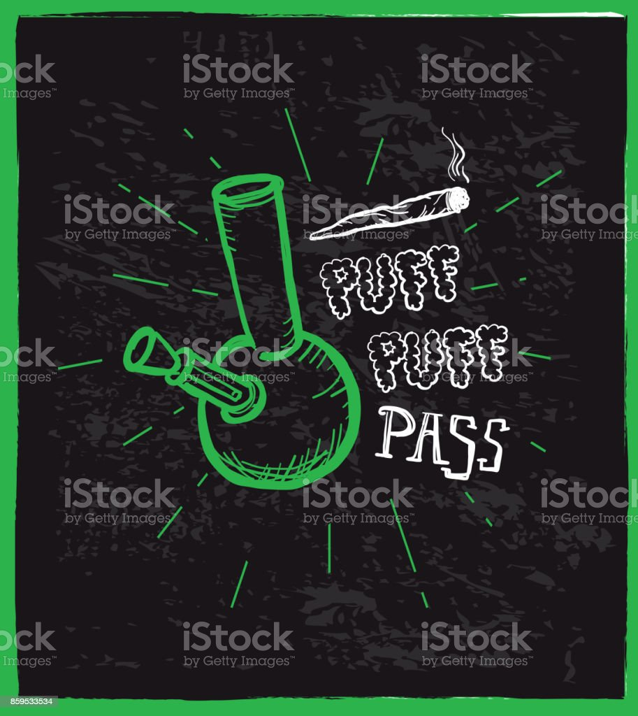 Cannabis weed culture Puff puff pass hand drawn labels designs vector art illustration