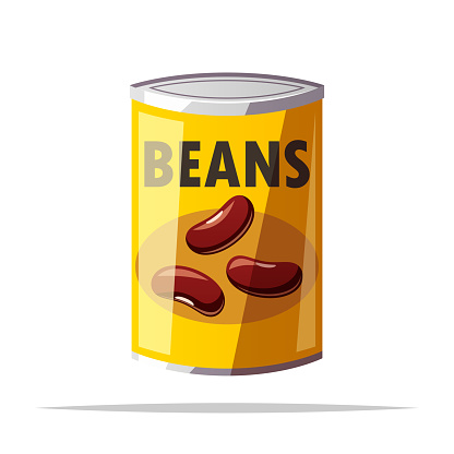 Canned beans vector isolated illustration