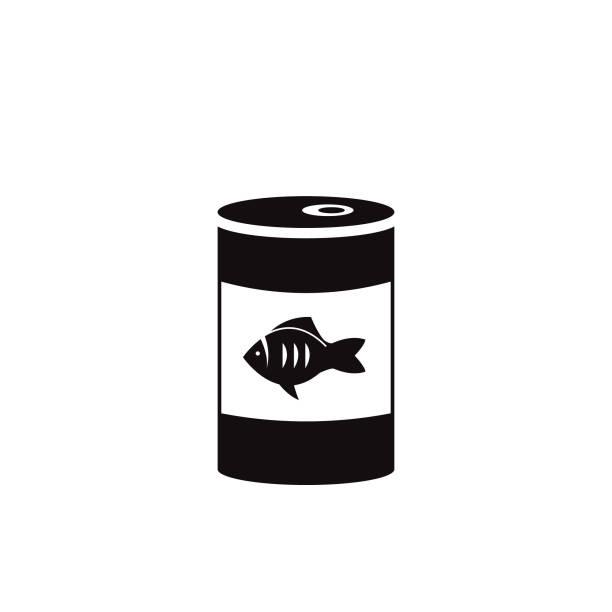 ilustrações de stock, clip art, desenhos animados e ícones de canned fish tuna can or cat food vector icon black - lata comida gato