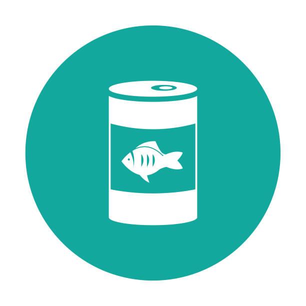 ilustrações de stock, clip art, desenhos animados e ícones de canned fish tuna can or cat food vector icon blue background - lata comida gato