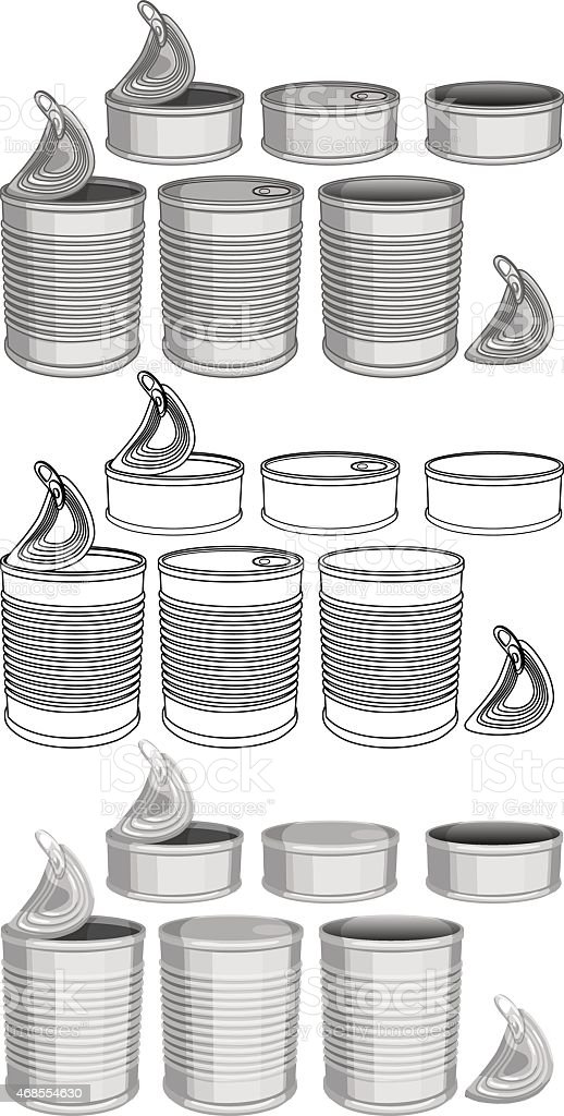 Canned Food Cans Pack vector art illustration