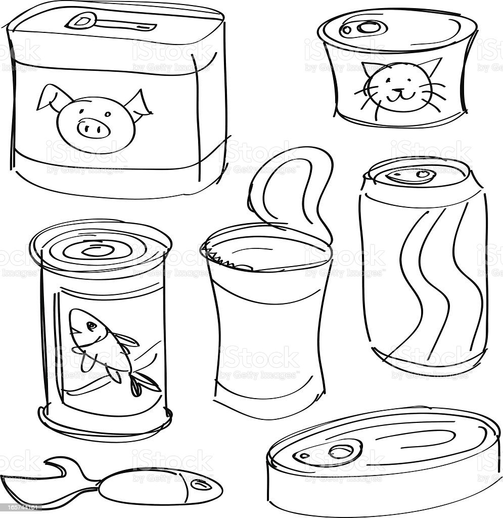 canned food collection in black and white stock vector art