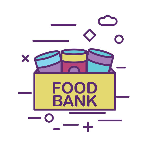 Canned Food Donation Box Charity And Donation Thin Line Icon Set Canned Food Donation Box Icon in thin line flat design style for charity and donation concept food drive stock illustrations