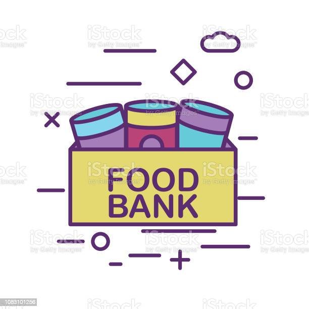 Canned Food Donation Box Charity And Donation Thin Line Icon Set Stock Illustration - Download Image Now