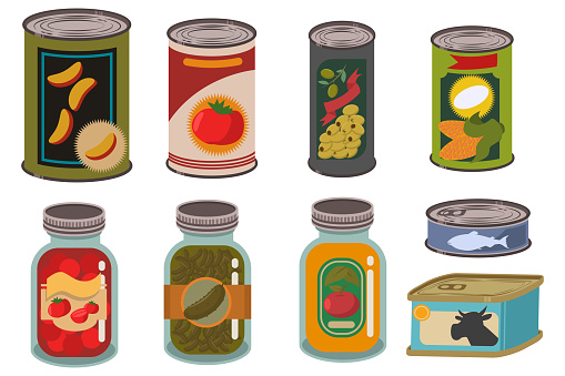 Canned food in metal tin and glass jar vector set. Vegetables, fruits, juices, soups, meat and fish can products. Cartoon illustration of packages with labels isolated on white background.