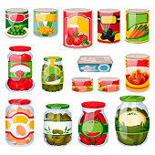 Canned food set isolated on white background. Food in tins, cartoon icons and design elements. Grocery supermarket collection. Vector illustrations.