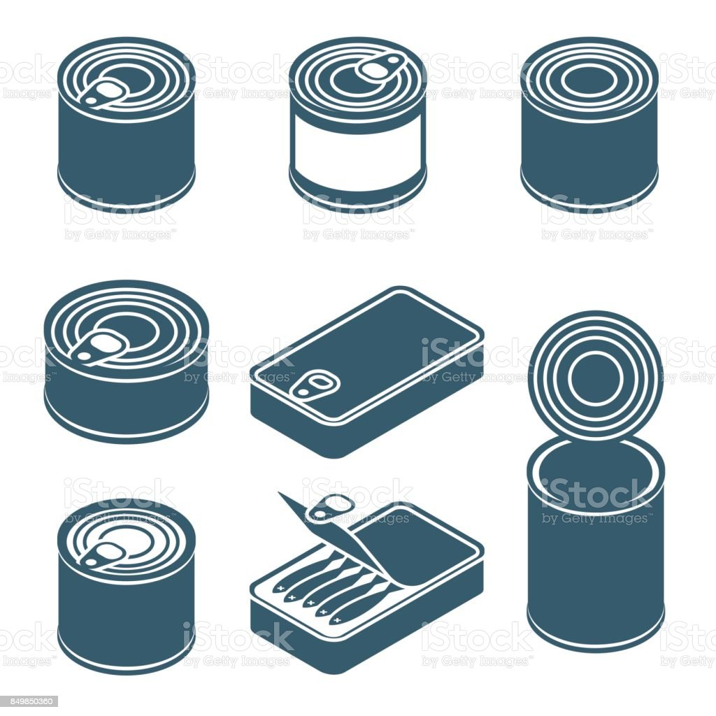 Canned food vector silhouettes, icons vector art illustration