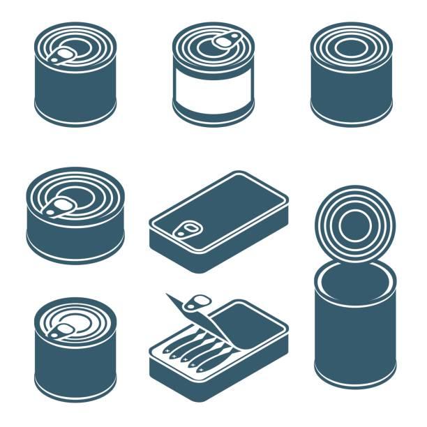 ilustrações de stock, clip art, desenhos animados e ícones de canned food vector silhouettes, icons - latão
