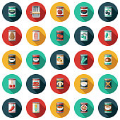 A set of canned food icons. File is built in the CMYK color space for optimal printing. Color swatches are global so it's easy to edit and change the colors.