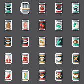 A set of canned food stickers. File is built in the CMYK color space for optimal printing. Color swatches are global so it's easy to edit and change the colors.