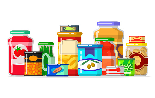 Canned Goods In A Row Stock Illustration - Download Image ...