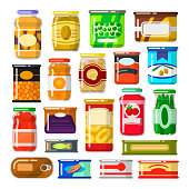 Canned goods set. Food preserved in a can, glass jar, metal container. Foodstuff and tinned goods. Vector flat style cartoon illustration isolated on white background