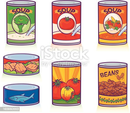 Canned soups, tuna, tomatoes, beans, & ham. Includes CS2 & high res JPEG. Please see my lightboxes for other food illustrations!