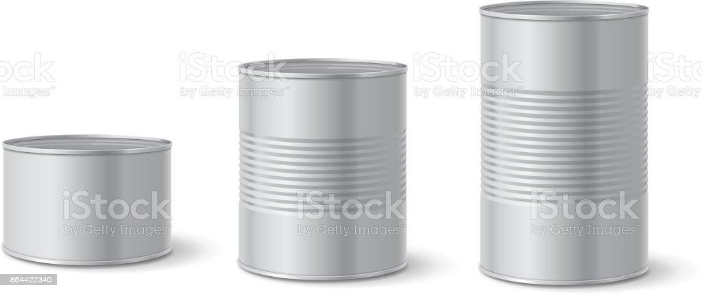 Metallverpackungen in Dosen. Aluminiumdose für Lebensmittel. Realistische Vektor – Vektorgrafik