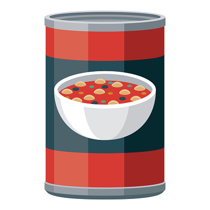 Canned Soup Icon on Transparent Background