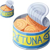 Canned tuna fish isolated on white background. Detailed Vector Icon. Series of food and drink and ingredients for cooking.