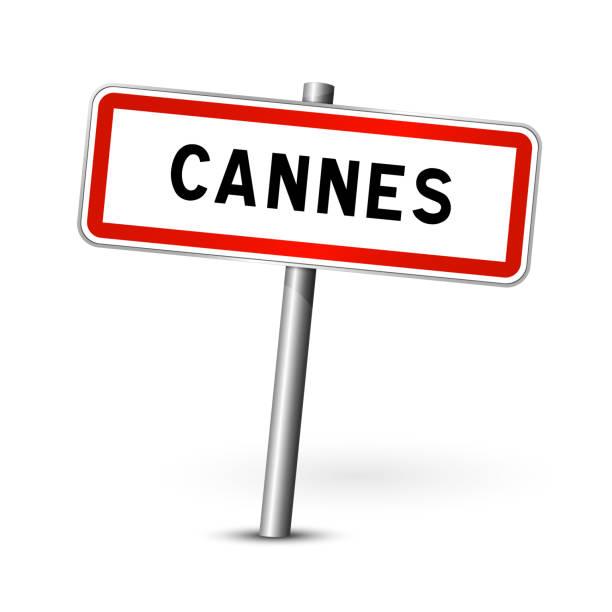 ilustraciones, imágenes clip art, dibujos animados e iconos de stock de tablero de señalización de cannes francia - señal de tráfico de la ciudad- - sign