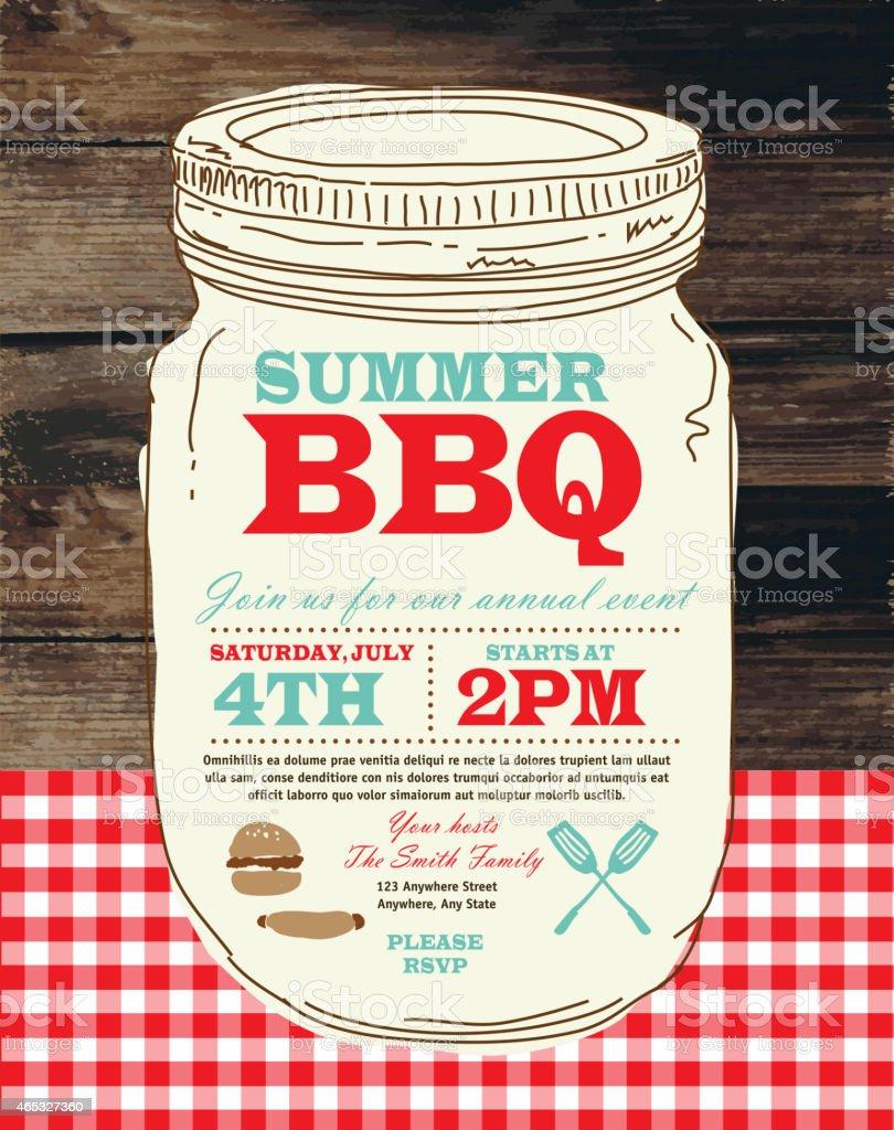 Canning Jar BBQ checkered red tablecloth picnic invitation design template vector art illustration