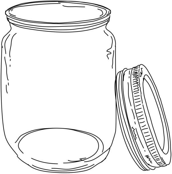 ilustrações de stock, clip art, desenhos animados e ícones de canning frasco abrir a tampa - jam jar