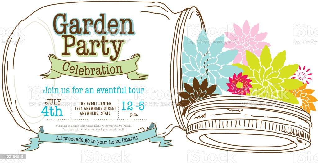 Canning jar spring Garden Party invitation design template vector art illustration